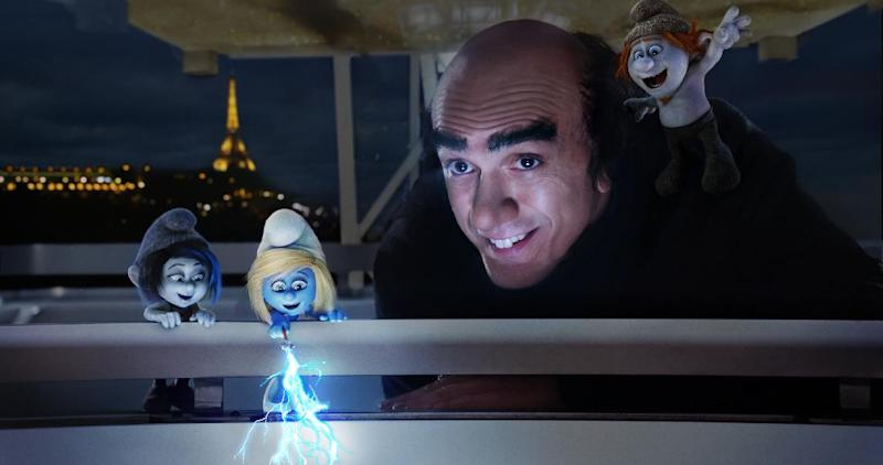 """This publicity image released by Sony Pictures Animation shows, from left, Vexy, voiced by Christina Ricci, Smurfette, voiced by Katy Perry, Gargamel, voiced by Hank Azaria, and Hackus, voiced by J.B. Smoove, in a scene from the film """"Smurfs 2."""" (AP Photo/Sony Pictures Animation)"""