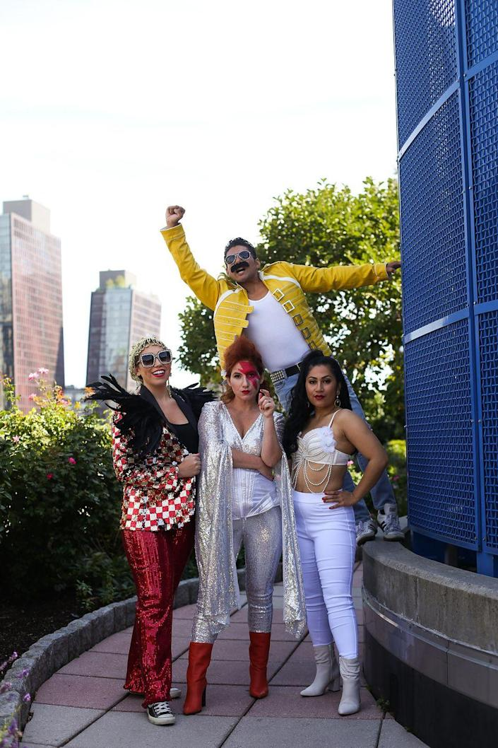 """<p>You and your BFFs will shine like superstars on Halloween dressed as your music favorites. </p><p><strong>Get the tutorial at <a href=""""http://livingaftermidnite.com/2019/10/group-halloween-costumes-that-will-win-you-best-dressed.html"""" rel=""""nofollow noopener"""" target=""""_blank"""" data-ylk=""""slk:Living After Midnite"""" class=""""link rapid-noclick-resp"""">Living After Midnite</a>.</strong></p><p><a class=""""link rapid-noclick-resp"""" href=""""https://www.amazon.com/gp/product/B07FMJWLGL/ref=ppx_yo_dt_b_asin_title_o02_s05?tag=syn-yahoo-20&ascsubtag=%5Bartid%7C10050.g.32906192%5Bsrc%7Cyahoo-us"""" rel=""""nofollow noopener"""" target=""""_blank"""" data-ylk=""""slk:SHOP PLAID SEQUIN JACKET"""">SHOP PLAID SEQUIN JACKET</a><br></p>"""