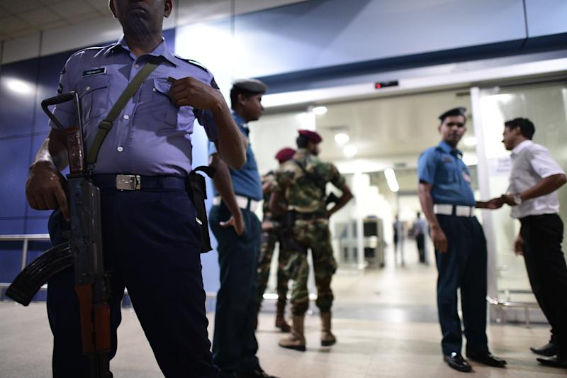 COLOMBO, SRI LANKA - APRIL 23 : Soldiers stand guard at the Bandaranaike International Airport in Colombo, Sri Lanka, April 23, 2019. ?The death toll from Sunday's terrorist attacks in Sri Lanka has climbed to 290. The government also says about 500 people were injured. (Photo: Richard Atrero de Guzman/ Sipa USA)