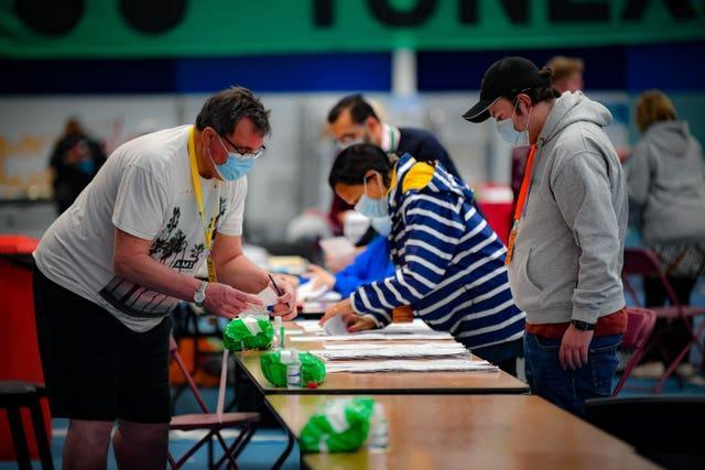 Counting in the Welsh Senedd elections at the Cardiff City House of Sport