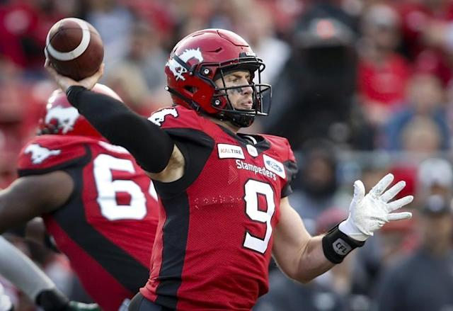 Another week, another road test for Nick Arbuckle.The sophomore quarterback will make his second straight start Saturday night when the Calgary Stampeders (2-1) visit the Hamilton Tiger-Cats (3-1) at Tim Hortons Field. Arbuckle led the defending Grey Cup champions to a 37-10 road win over the Saskatchewan Roughriders last week in his first CFL start, completing 19-of-22 passes for 262 yards and two touchdowns.Arbuckle replaced injured veteran Bo Levi Mitchell in the second half of Calgary's come-from-behind 36-32 home win over the B.C. Lions on June 29. He completed all nine passes he threw for 93 yards and a TD — that being a three-yard strike to Eric Rogers with 42 seconds remaining that capped the Stampeders' comeback from an 11-point deficit.Shortly after the win, Calgary put Mitchell, the CFL's outstanding player and Grey Cup MVP last season, on the six-game injured list with a pectoral muscle injury. Now, the Stampeders could pull Mitchell off the list any time, but for the immediate future the starting duties belong to Arbuckle, who also ran for a touchdown versus B.C.Calgary opened the season with a 32-28 home loss to Ottawa. The Redblacks outscored the Stampeders 11-0 in the fourth to secure the victory despite starter Dominique Davis throwing four interceptions.But Davis countered with three rushing touchdowns in the contest, scoring the game-winning TD on a five-yard run with 1:22 remaining.Arbuckle has hardly been a one-man show in Calgary's two victories. Rogers had three TD grabs versus B.C. while Reginald Begelton registered four catches for 102 yards and a touchdown against Saskatchewan.And in the two victories, Calgary has rushed for a combined 220 yards and three touchdowns.Defensively, linebacker Cory Greenwood leads the CFL in tackles (25) while defensive back Tre Roberson has a league-best five interceptions.Hamilton is coming off a 36-29 road loss to Montreal last week. William Stanback anchored the Alouettes' victory with 203 yards rushing and