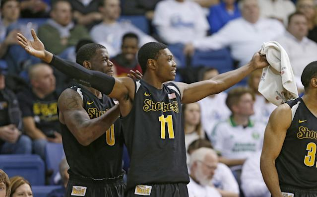 Wichita State forward Cleanthony Early reacts on the bench during the second half of an NCAA college basketball game against Drake, Saturday, Jan. 25, 2014, in Des Moines, Iowa. Early scored 19 points as Wichita State won 78-61. (AP Photo/Charlie Neibergall)