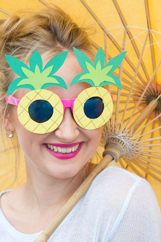 """<p>Make yourself your very own pair of tropical sunnies. All you need in a old pair of sunnies, glue and a few sheets of colourful paper. <i><a href=""""http://www.lilyallsorts.com/2015/08/diy-pineapple-flamingo-sunglasses.html#.V0gmYl4jHtF"""">[Photo: Lily All Sorts]</a></i></p>"""