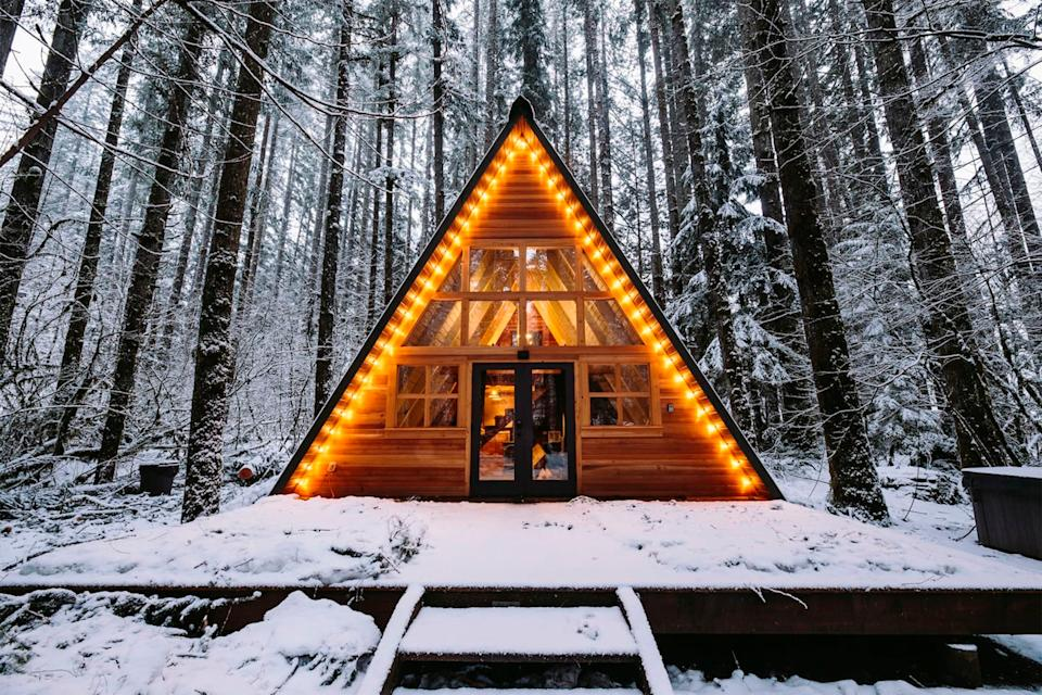 """<h2>Tye Haus A-Frame Cabin</h2>This listing is the A-frame cabin of your Instagram dreams. It's surrounded by some of the best hiking trails in the Pacific Northwest. There's even a private hot tub; perfect for that relaxing post-hike soak.<br><br><strong>Location: </strong><a href=""""https://airbnb.com/s/Skykomish,Washington,United%20States/homes"""" rel=""""nofollow noopener"""" target=""""_blank"""" data-ylk=""""slk:Skykomish, WA"""" class=""""link rapid-noclick-resp"""">Skykomish, WA</a><br><strong>Sleeps: </strong>4<br><strong>Price Per Night: </strong>$252<br><br><strong><a href=""""https://www.airbnb.com/rooms/1974939"""" rel=""""nofollow noopener"""" target=""""_blank"""" data-ylk=""""slk:Book here"""" class=""""link rapid-noclick-resp"""">Book here</a></strong><span class=""""copyright"""">Photo: Courtesy of Airbnb.</span>"""
