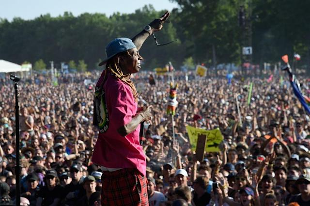 <p>Lil Wayne performs during the 2018 Firefly Music Festival in Dover, Delaware. (Photo: Getty Images) </p>