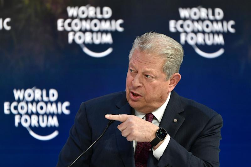 Former US Vice-President Al Gore, speaks at the Securing a Sustainable Future for the Amazon, during the World Economic Forum in Davos, Switzerland, on January 22, 2020. (Photo by Fabrice COFFRINI / AFP) (Photo by FABRICE COFFRINI/AFP via Getty Images)