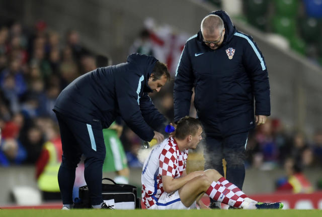 Britain Football Soccer - Northern Ireland v Croatia - International Friendly - Windsor Park, Belfast, Northern Ireland - 15/11/16 Croatia's Filip Bradaric receives medical attention after sustaining an injury Reuters / Clodagh Kilcoyne Livepic EDITORIAL USE ONLY.
