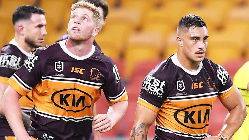 Brisbane Broncos players are pictured during their loss to Parramatta in the NRL's return.