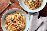 """Delicata squash cooked in sage-infused brown butter makes for a quick, flavorful, and hearty pasta. If you're craving <a href=""""https://www.epicurious.com/recipes-menus/best-comfort-food-recipes-gallery?mbid=synd_yahoo_rss"""" rel=""""nofollow noopener"""" target=""""_blank"""" data-ylk=""""slk:comfort food"""" class=""""link rapid-noclick-resp"""">comfort food</a>, this recipe is a great place to start. <a href=""""https://www.epicurious.com/recipes/food/views/pasta-with-delicata-squash-and-sage-brown-butter?mbid=synd_yahoo_rss"""" rel=""""nofollow noopener"""" target=""""_blank"""" data-ylk=""""slk:See recipe."""" class=""""link rapid-noclick-resp"""">See recipe.</a>"""