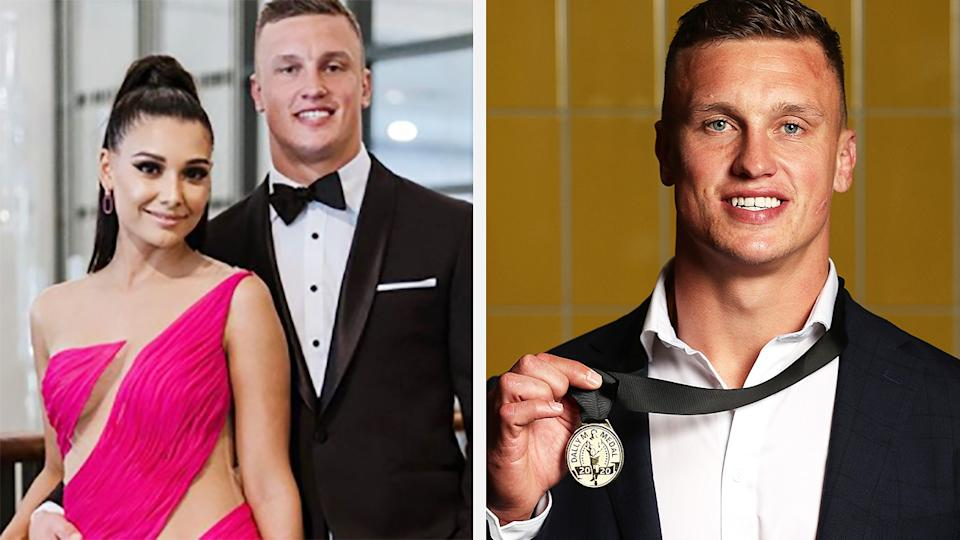 A 50-50 split image shows a shot of Monisha Lew-Fatt and Jack Wighton at the 2019 Dally M Medal on the left, and Jack Wighton after winning the 2020 medal on the right.