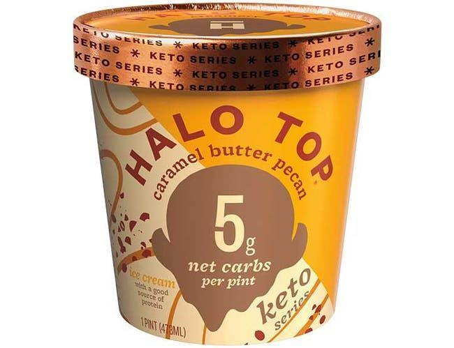 """<p><strong>Halo Top</strong></p><p>foodservicedirect.com</p><p><a href=""""https://www.foodservicedirect.com/halo-top-caramel-butter-pecan-keto-ice-cream-1-pint-8-per-case-23024577.html"""" rel=""""nofollow noopener"""" target=""""_blank"""" data-ylk=""""slk:BUY NOW"""" class=""""link rapid-noclick-resp"""">BUY NOW</a></p><p>The new Halo Top Series contains 5 to 10 grams net carbs per pint and is higher in protein compared to the other keto ice creams on the market, says Martin. """"Their ice creams contain around three times the amount of protein per serving than other brands,"""" she says. Try Caramel Butter Pecan, which has 150 calories, 5 g net carbs, 1 g sugar and a whopping 19 grams of protein per serving.</p>"""