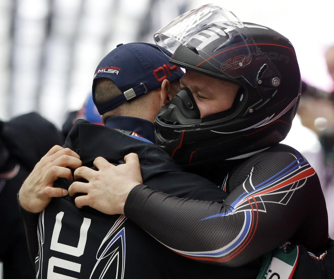 <p>Steven Holcomb backed up his gold medal from the 2010 games with two bronze medals in the two-man and four-man in Sochi. Holcomb passed away in his sleep in May 2017 at the U.S. Olympic Training Center. </p>