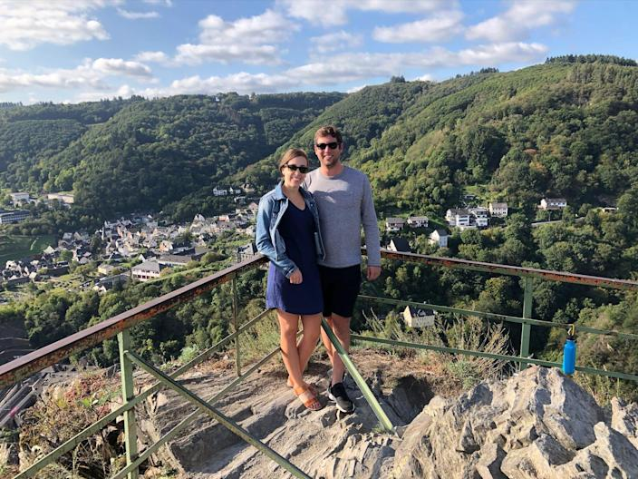 Katie McKalip and Joe Bibelhausen, shown here during a pre-pandemic trip to Germany, are planning their Oregon wedding. Among their top concerns: making sure their guests feel safe when it comes to COVID-19.
