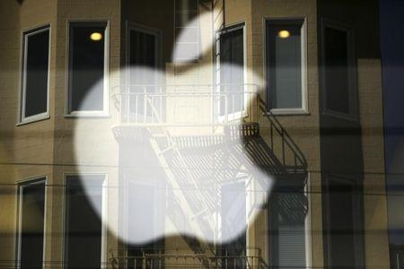 The Apple logo is pictured at a retail store in the Marina neighborhood in San Francisco