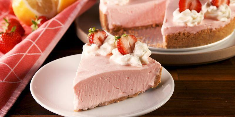 "<p><a href=""https://www.delish.com/uk/cooking/recipes/a32090244/easy-no-bake-cheesecake-recipe/"" rel=""nofollow noopener"" target=""_blank"" data-ylk=""slk:No-Bake Cheesecake"" class=""link rapid-noclick-resp"">No-Bake Cheesecake</a> is the best thing to serve at summer parties to avoid the dreadful heat of the oven. This version has an extra kick from pink lemonade that makes it a little tart and extra fruity. We love it piled high with whipped cream! </p><p>Get the <a href=""https://www.delish.com/uk/cooking/recipes/a36107967/no-bake-pink-lemonade-cheesecake-recipe/"" rel=""nofollow noopener"" target=""_blank"" data-ylk=""slk:No-Bake Pink Lemonade Cheesecake"" class=""link rapid-noclick-resp"">No-Bake Pink Lemonade Cheesecake</a> recipe.</p>"