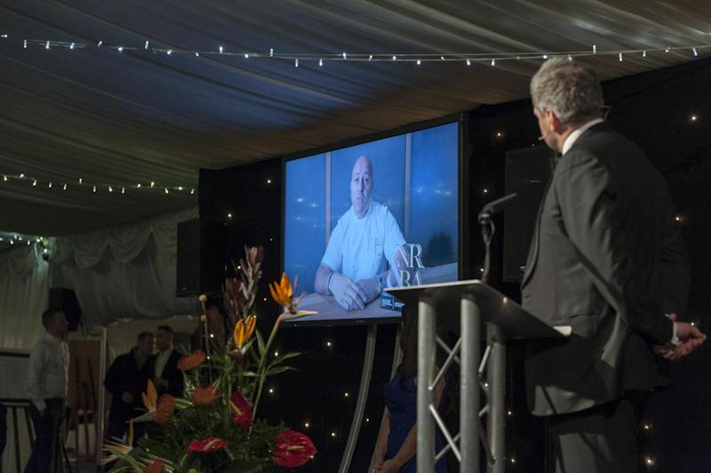 Mark speaking to Sat Bains on video link