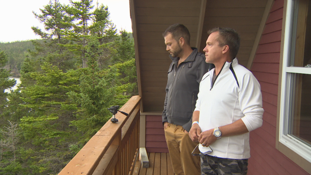 Edison Avery, right, built this cabin in Hatchet Cove, where his ex brother-in-law came on Sept. 2, 2018, and fired two shots.