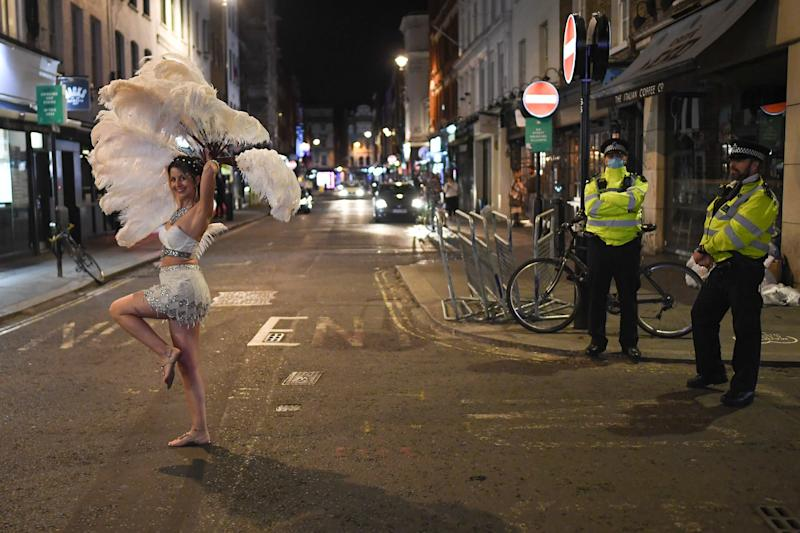 Streets of Soho all but empty as coronavirus curfew takes effect (Getty Images)