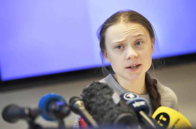 Swedish climate activist Greta Thunberg gives a press conference during a meeting with climate activists and experts from Africa focusing on key environmental threatening of the continent, on January 31, 2020 in Stockholm. (Photo by Pontus LUNDAHL / TT News Agency / AFP) / Sweden OUT (Photo by PONTUS LUNDAHL/TT News Agency/AFP via Getty Images)