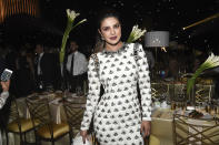 """<p>Although her name was mispronounced during the show (the announcer said """"Chopa""""), <em>Quantico</em> star Priyanka Chopra, who was a presenter, was still in good spirits at the Governors Ball. (Photo: Richard Shotwell/Invision/AP) </p>"""