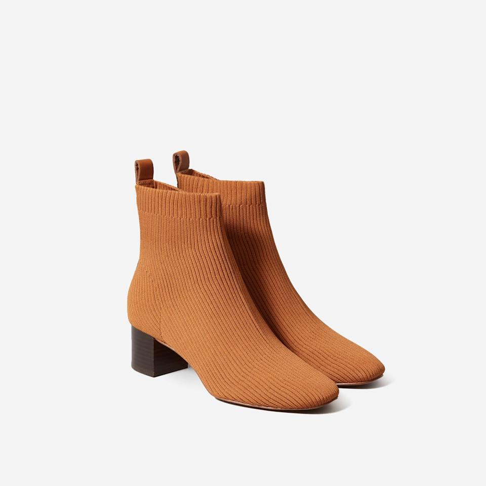 """<p><strong>Everlane</strong></p><p>everlane.com</p><p><strong>$115.00</strong></p><p><a href=""""https://go.redirectingat.com?id=74968X1596630&url=https%3A%2F%2Fwww.everlane.com%2Fproducts%2Fwomens-day-boot-reknit-toffee&sref=https%3A%2F%2Fwww.harpersbazaar.com%2Ffashion%2Ftrends%2Fg37157481%2Fbest-cheap-boots%2F"""" rel=""""nofollow noopener"""" target=""""_blank"""" data-ylk=""""slk:Shop Now"""" class=""""link rapid-noclick-resp"""">Shop Now</a></p><p>Everlane's glove boot is the stepping stone between your house slippers and stilettos: There's cloud-soft knit fabric for comfort, with a slight heel for dressing up.</p>"""