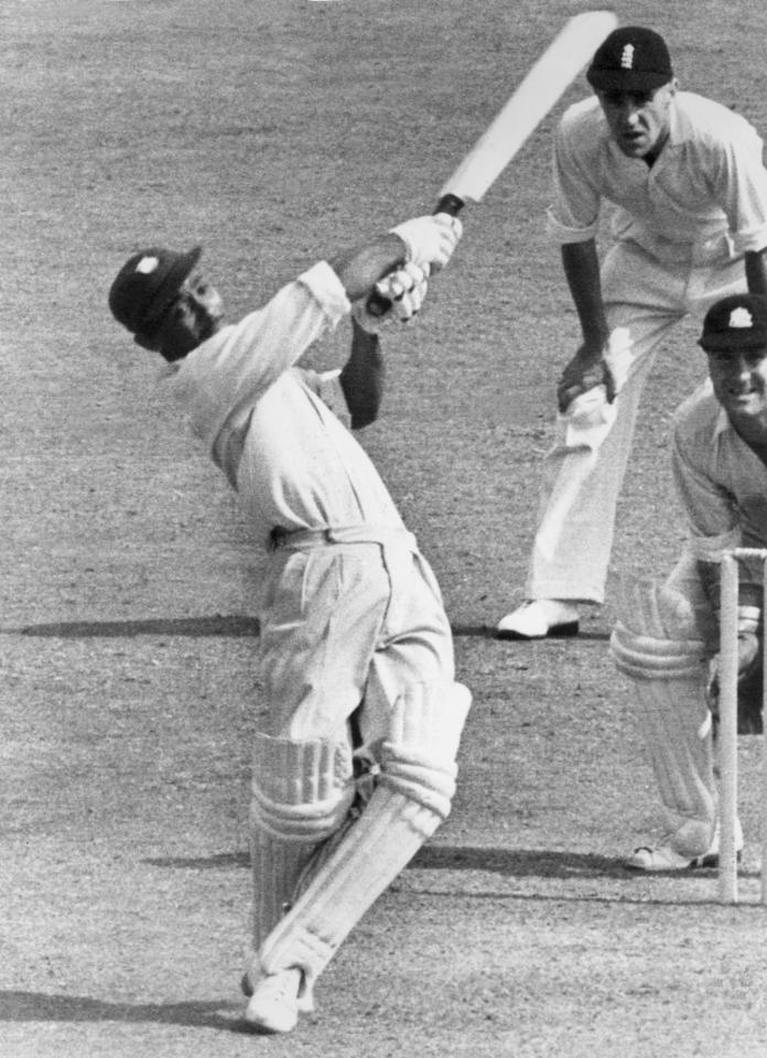 July 1950:  West Indies cricketer Frank Worrell (1924 - 1967) in play during a test match against England in Nottinghamshire.  (Photo by Central Press/Getty Images)
