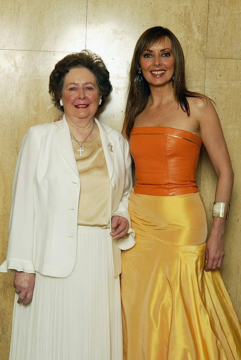 LONDON - MAY 28: Host Carol Vorderman (R) with poses with her mother at the 'Cleft Lip and Palate Association' (CLAPA) Grand Jubilee Ball to celebrate it's Silver Jubilee on May 28, 2004 at the Park Lane Hotel, Piccidilly, London. (Photo by Dave Hogan/Getty Images)