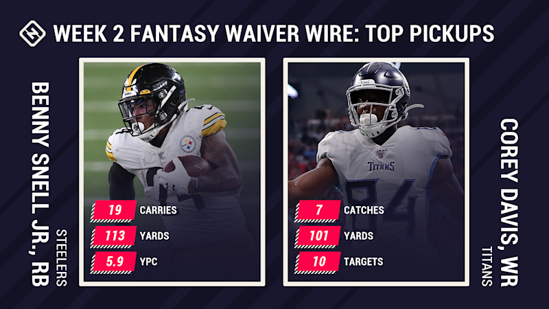 Fantasy Waiver Wire Week 2: Benny Snell becomes top pickup after James Conner's injury, Corey Davis worth free agent add