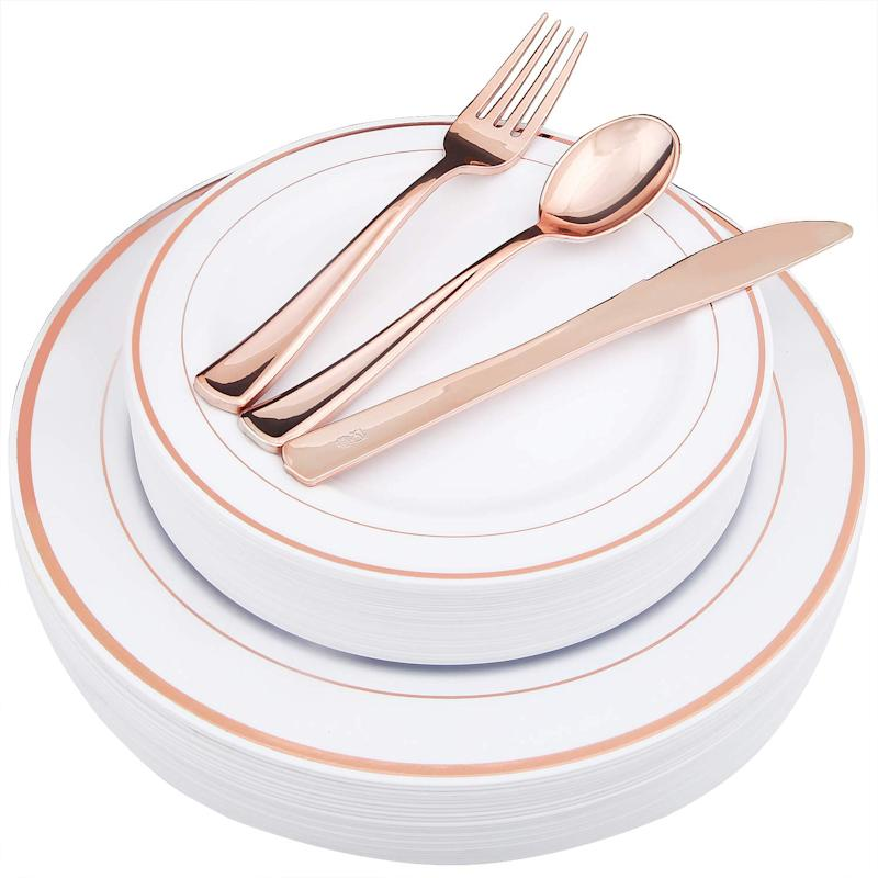 WDF-125 Piece Rose Gold Plastic Silverware Set&Disposable Plastic Plates. (Photo: Amazon)