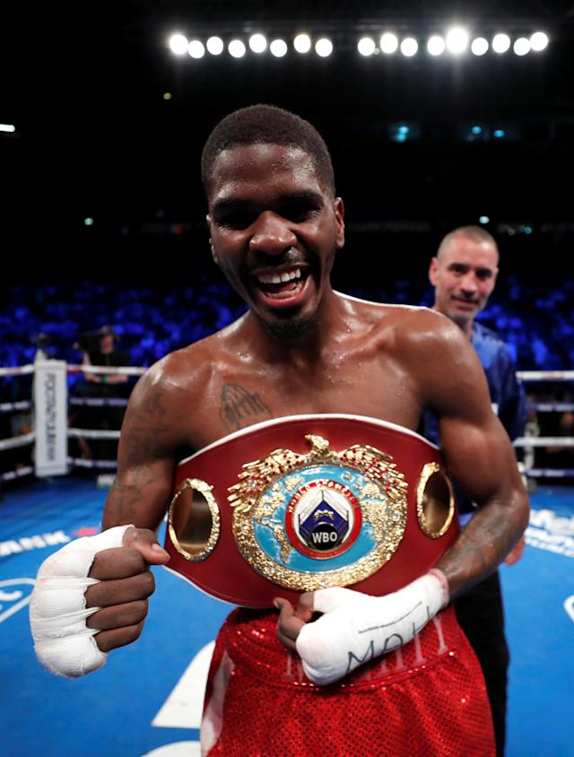Boxing - Terry Flanagan v Maurice Hooker - WBO World Super-Lightweight Title - Manchester Arena, Manchester, Britain - June 9, 2018 Maurice Hooker celebrates his win against Terry Flanagan Action Images via Reuters/Andrew Couldridge