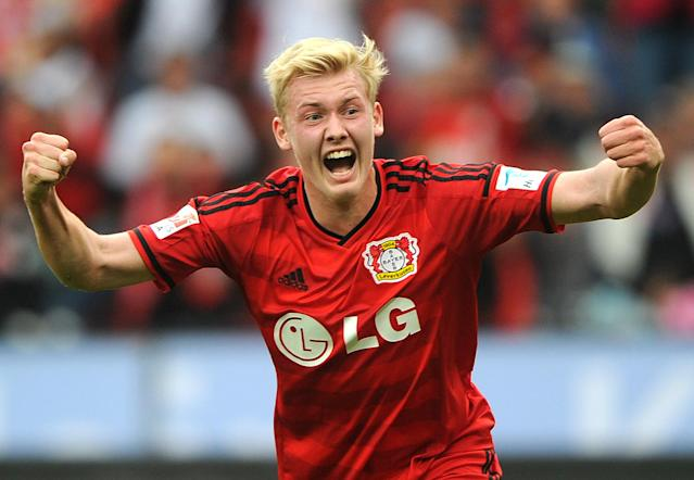Leverkusen's striker Julian Brandt celebrates scoring during the German first division Bundesliga football match Bayer 04 Leverkusen vs Hertha Berlin in Stuttgart, on August 30, 2014 (AFP Photo/Jonas Guttler)