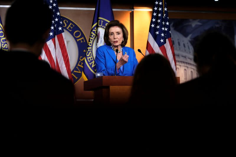 U.S. House Speaker Nancy Pelosi (D-CA) holds her weekly news conference at the U.S. Capitol in Washington