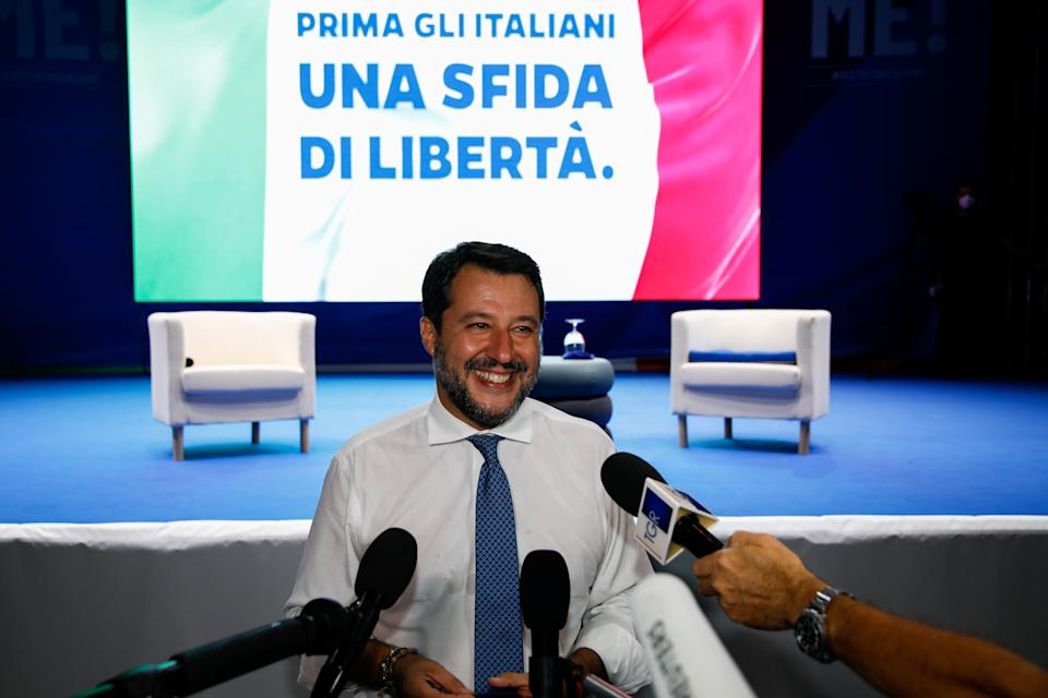 Far-right leader Matteo Salvini makes declarations to the media after arriving to Sicily ahead of the start of a trial where he is accused of illegally detaining more than 100 migrants aboard a coastguard ship in 2019, in Catania, Italy, October 2, 2020. REUTERS/Antonio Parrinello (Photo: Antonio Parrinello / Reuters)