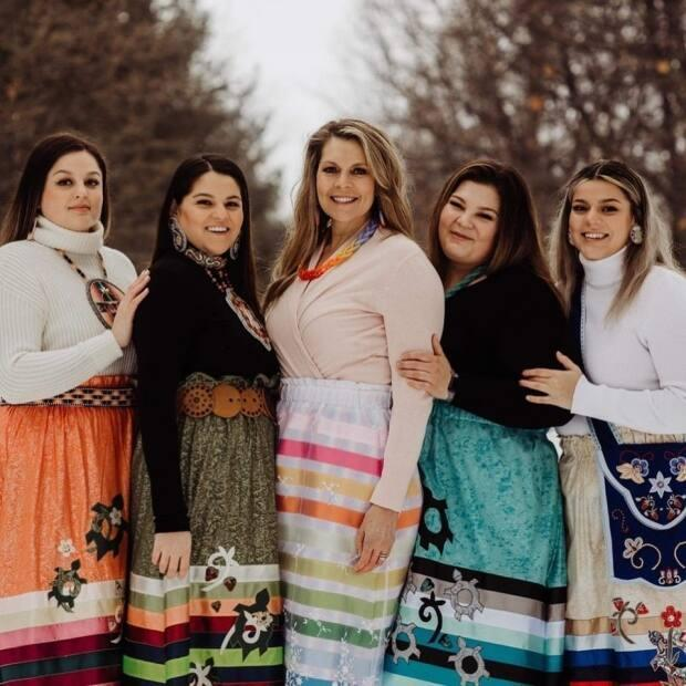 Karen Francis and daughters make beaded jewelry and ribbon skirts.