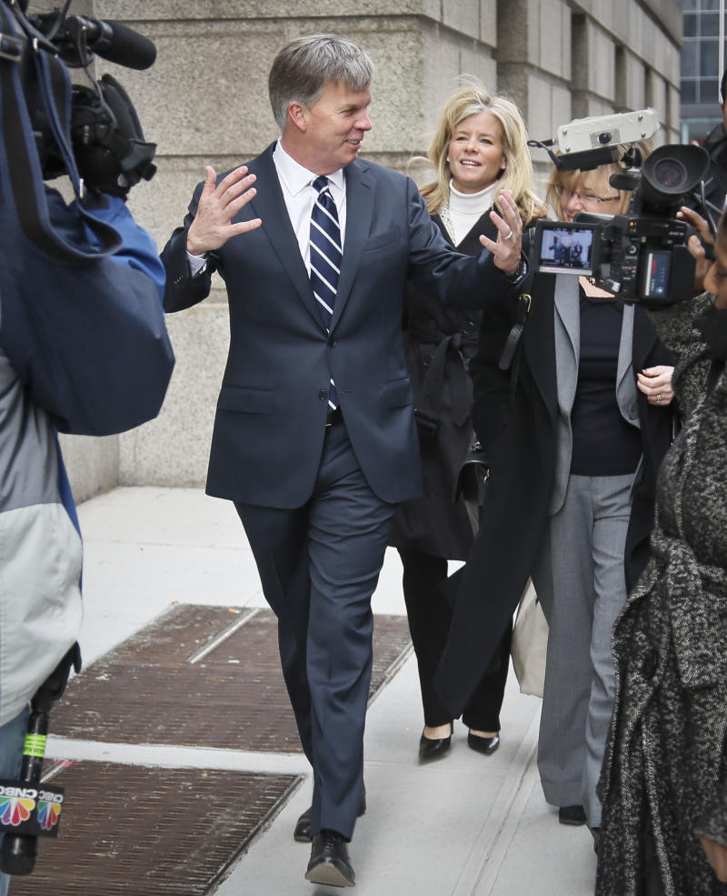 Ron Johnson, CEO of J.C. Penney, arrives at New York Supreme Court, Friday, March 1, 2013.    Johnson is expected to testify in a trial that pits the struggling department store chain against rival Macy's Inc. over a partnership with Martha Stewart. The trial focuses on whether Macy's has the exclusive right to sell some of Martha Stewart branded products such as cookware, bedding and bath items. Macy's is seeking to block Penney from opening Martha Stewart mini shops in its stores. The shops are part of Johnson's big plan to reinvent the shopping experience at the beleaguered chain.  (AP Photo/Bebeto Matthews)