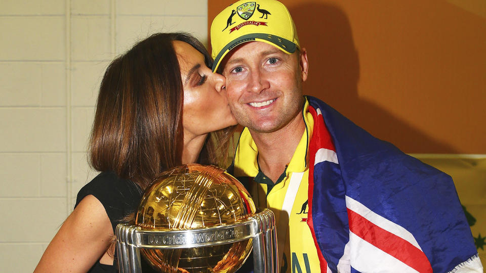 Michael and Kyly Clarke, pictured here after Australia's triumph in the 2015 Cricket World Cup final.