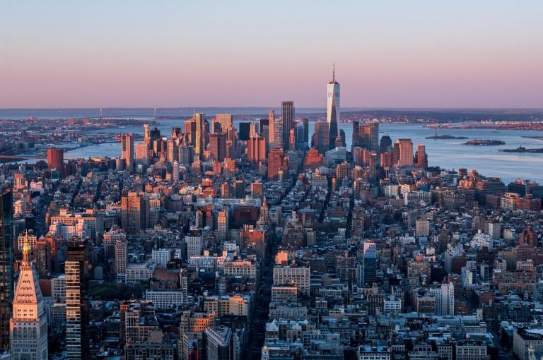 A view of Manhattan from the Empire State Building on April 3, 2021