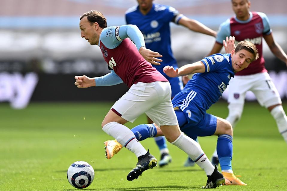 <p>Mark Noble made his 400th Premier League appearance against Leicester</p> (Getty Images)