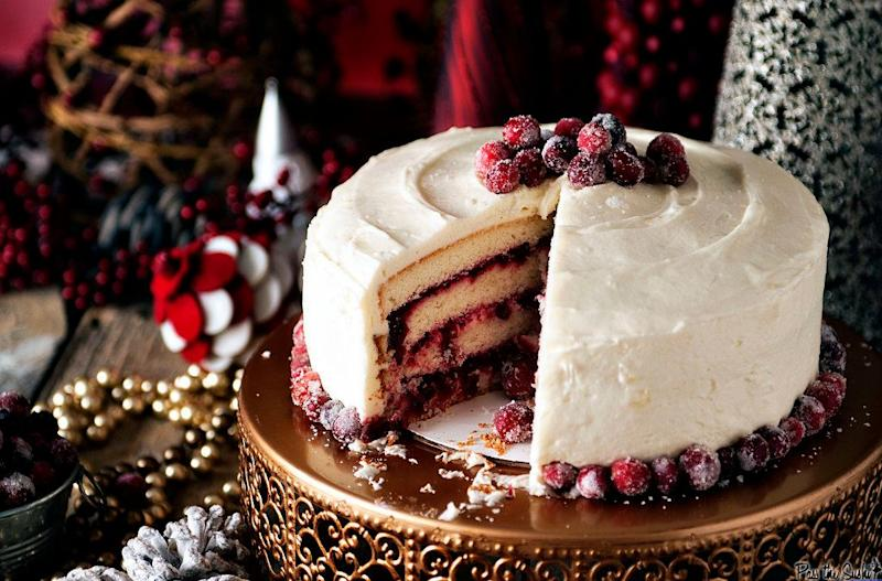 "<strong>Get the recipe for <a href=""https://passthesushi.com/holiday-party-tips-and-a-killer-cranberry-vanilla-bean-cake/"" target=""_blank"">Cranberry Vanilla Bean Cake</a> from Pass The Sushi</strong>"