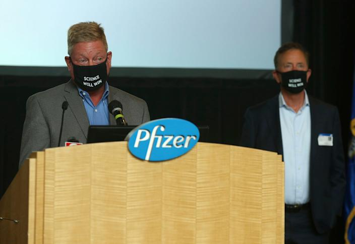John Burkhardt, head of the Pfizer Groton, site speaks at a press conference Wednesday, July 22, 2020, in Groton, Conn.