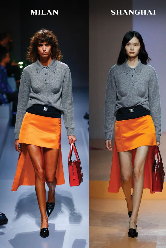 Miniskirts featured a longer train in the back for a new spin on the high-low hemline. - Credit: Courtesy of Prada