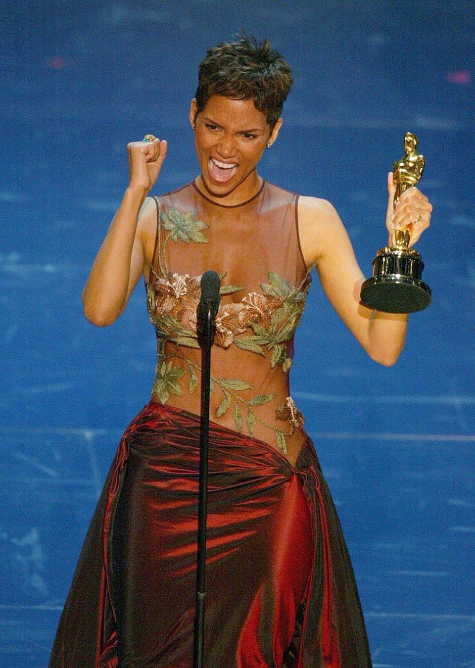 "<p><strong>Claim to fame: </strong>Actress</p><p><strong>Why she's extraordinary: </strong>In 2002 Berry became the first—and still only—Black woman to be named Best Actress at the Oscars for her leading role in <em>Monster's Ball</em>. ""This moment is so much bigger than me,"" <a href=""http://aaspeechesdb.oscars.org/link/074-3/"" rel=""nofollow noopener"" target=""_blank"" data-ylk=""slk:she said"" class=""link rapid-noclick-resp"">she said</a> at the time. ""It's for every nameless, faceless woman of color that now has a chance because this door tonight has been opened. Thank you. I'm so honored.<strong>""</strong></p>"