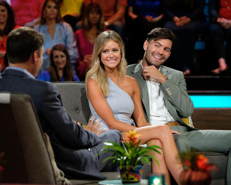 <p>Despite the fact that ABC apparently edited out Hannah Godwin's entire personality on their season of <em>Paradise</em>, Dylan fell completely in love with her right off the bat. No lie, he looked like a sad puppy whenever she talked to any other guys. That's all behind them now because they're engaged! </p>