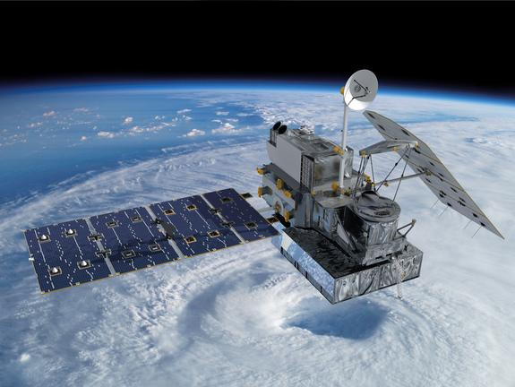 An artist's illustration of the Global Precipitation Measurement Core Observatory satellite built by NASA and JAXA to measure the Earth's rain and snow fall like never before. The satellite is launching on Feb. 27, 2014 from Japan's Tanegashima