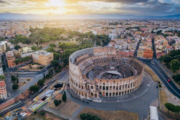 Aerial view of the Coliseum and of the City Buildings, Rome. (Photo: Nico De Pasquale Photography via Getty Images)