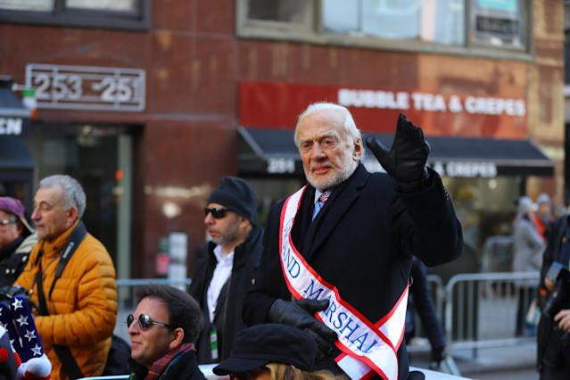 <p>Honorary Grand Marshal Buzz Aldrin waves to spectators during the Veterans Day parade on Fifth Avenue in New York on Nov. 11, 2017. (Photo: Gordon Donovan/Yahoo News) </p>