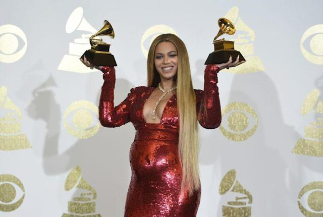 Beyoncé at the 2017 Grammys. (Photo: AP Image)