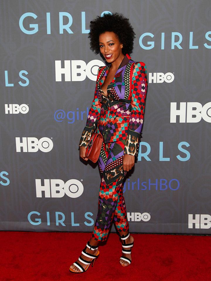 "Solange Knowles attends HBO's premiere of ""Girls"" Season 2 at the NYU Skirball Center on January 9, 2013 in New York City."