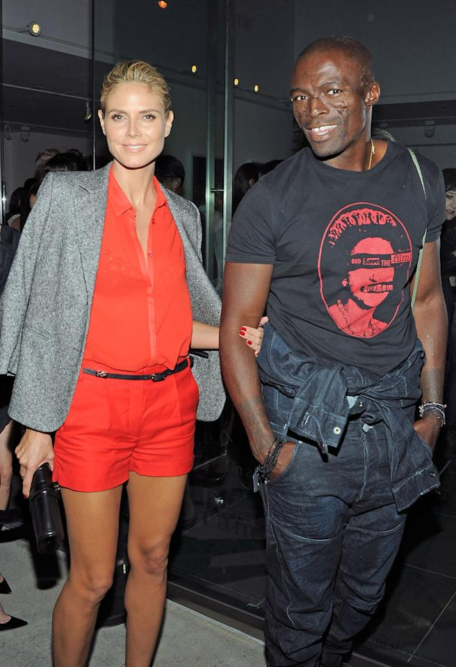"LOS ANGELES, CA - OCTOBER 12:  Heidi Klum and Seal attend the Rankin and Damien Hirst Show opening night of ""Myths, Monsters And Legends""  at Rankin Gallery on October 12, 2011 in Los Angeles, California.  (Photo by Angela Weiss/WireImage)"