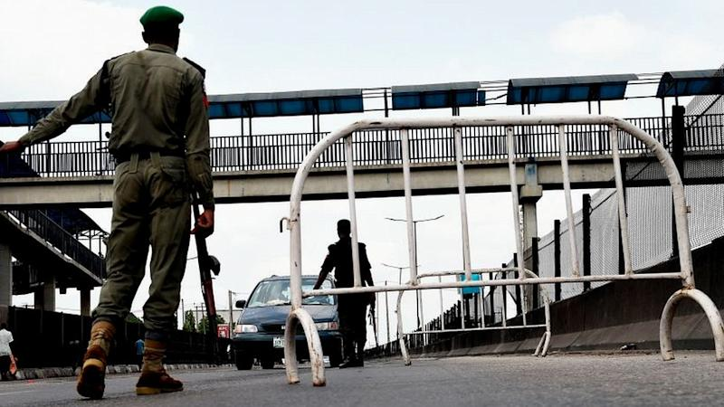 Soldier manning checkpoint in Lagos